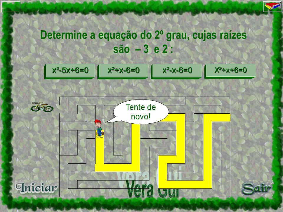 Determine a equação do 2º grau, cujas raízes são – 3 e 2 : x²-5x+6=0 x²+x –6 =0 x²+x –6 =0 x²-x-6=0 x²+x+6=0