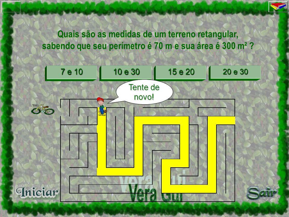 Quais são as medidas de um terreno retangular, sabendo que seu perímetro é 70 m e sua área é 300 m² ? 7 e 10 7 e 10 e 30 10 e 30 15 e 20 15 e 20 e 30