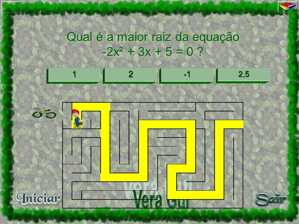 3333 1111 0000 2222 Tente de novo! Quantas raízes tem a equação 2x² - 2x +1 = 0 ?