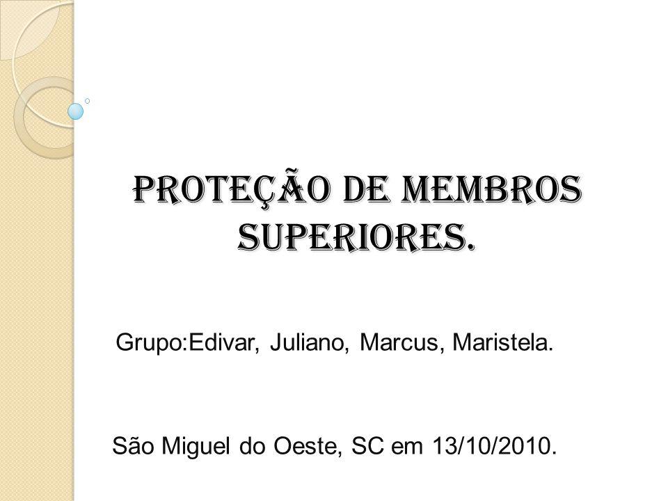PROTEÇÃO DE MEMBROS SUPERIORES. Grupo:Edivar, Juliano, Marcus, Maristela. São Miguel do Oeste, SC em 13/10/2010.