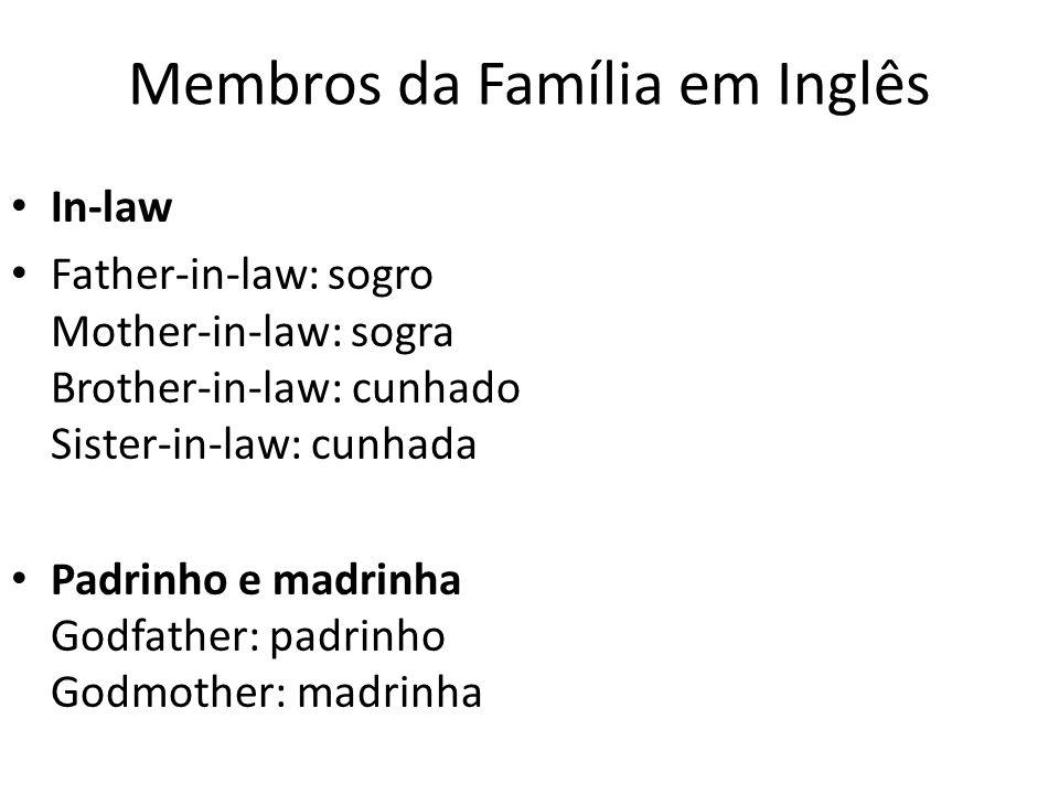 Membros da Família em Inglês In-law Father-in-law: sogro Mother-in-law: sogra Brother-in-law: cunhado Sister-in-law: cunhada Padrinho e madrinha Godfa