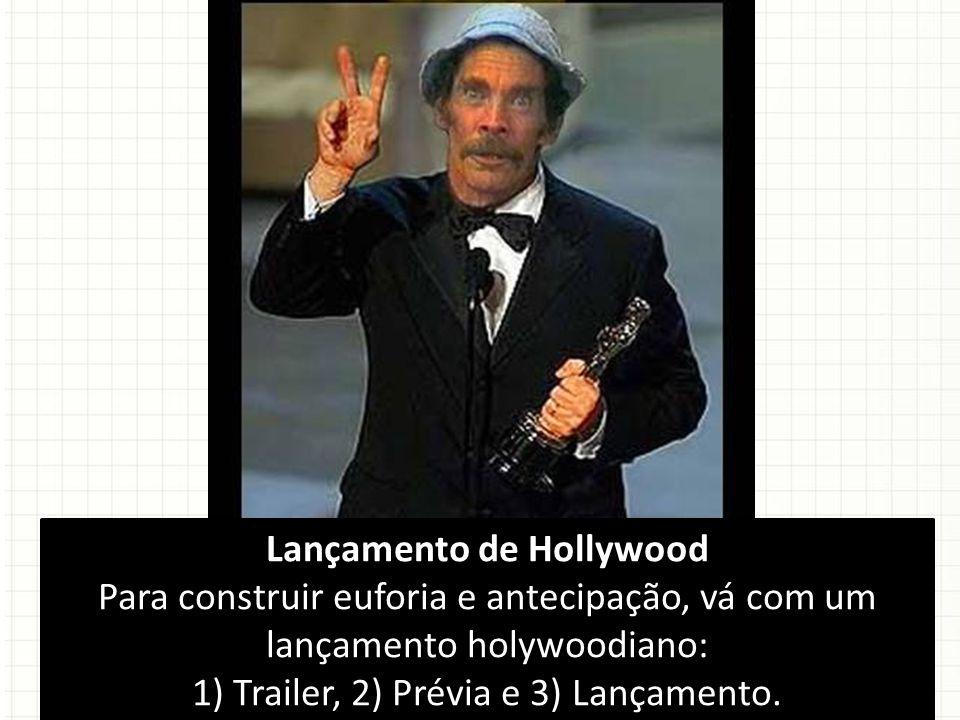 Lançamento de Hollywood Para construir euforia e antecipação, vá com um lançamento holywoodiano: 1) Trailer, 2) Prévia e 3) Lançamento.
