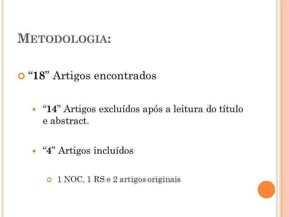 "M ETODOLOGIA : "" 18 "" Artigos encontrados "" 14 "" Artigos excluídos após a leitura do título e abstract. "" 4 "" Artigos incluídos 1 NOC, 1 RS e 2 artigo"
