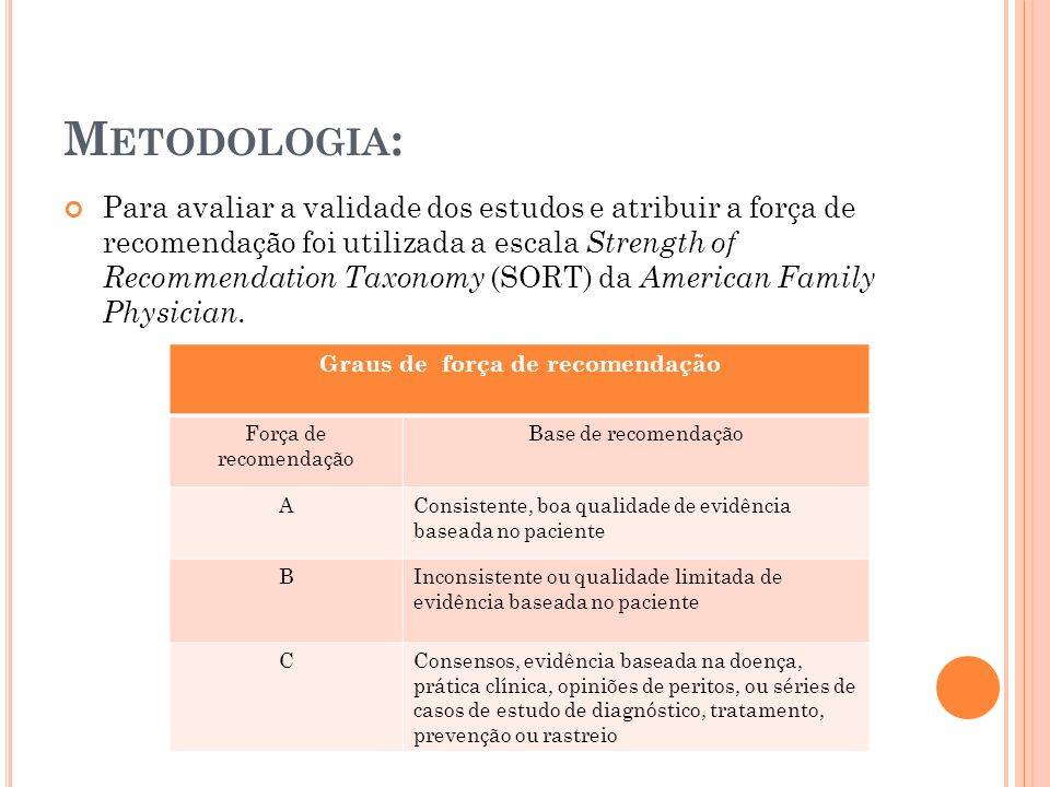M ETODOLOGIA : Para avaliar a validade dos estudos e atribuir a força de recomendação foi utilizada a escala Strength of Recommendation Taxonomy (SORT) da American Family Physician.