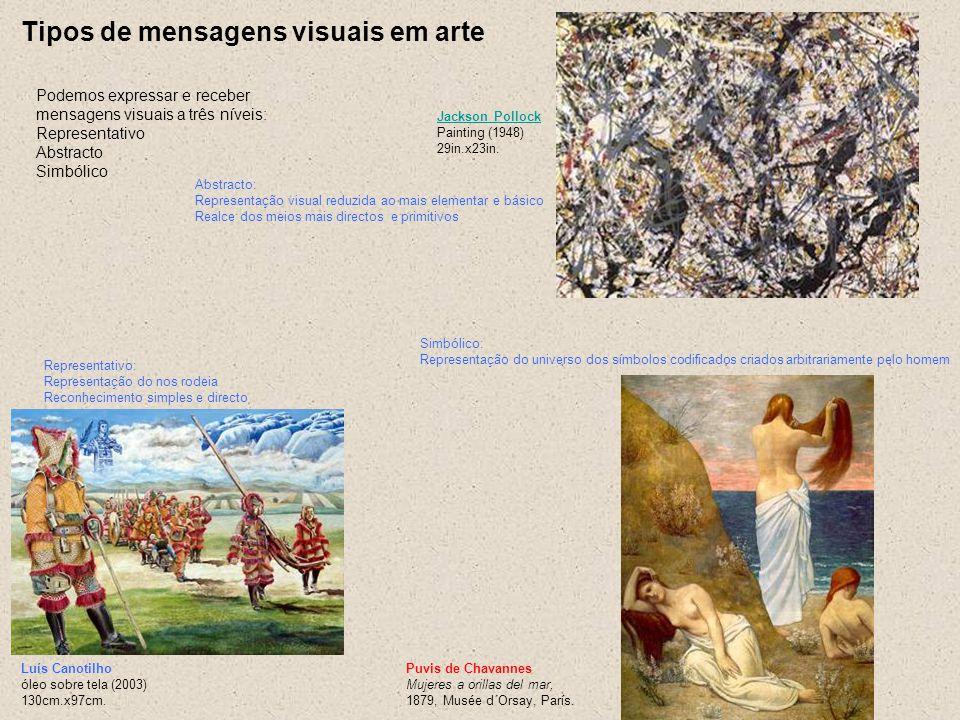 Tipos de mensagens visuais em arte Podemos expressar e receber mensagens visuais a três níveis: Representativo Abstracto Simbólico Jackson Pollock Jac