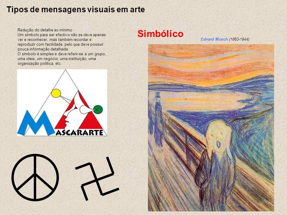 Tipos de mensagens visuais em arte Redução do detalhe ao mínimo Um símbolo para ser efectivo não se deve apenas ver e reconhecer, mas também recordar