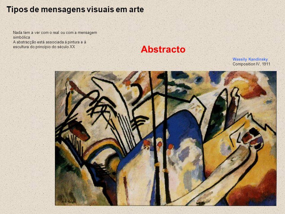 Tipos de mensagens visuais em arte Nada tem a ver com o real ou com a mensagem simbólica A abstracção está associada á pintura e à escultura do princí