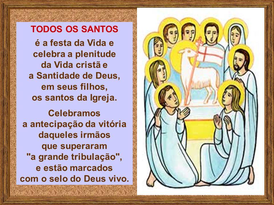 TODOS OS SANTOS é a festa da Vida e celebra a plenitude da Vida cristã e a Santidade de Deus, em seus filhos, os santos da Igreja.