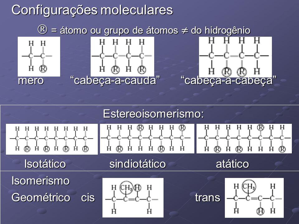 """Configurações moleculares  = átomo ou grupo de átomos  do hidrogênio  = átomo ou grupo de átomos  do hidrogênio mero """"cabeça-a-cauda"""" """"cabeça-a-ca"""
