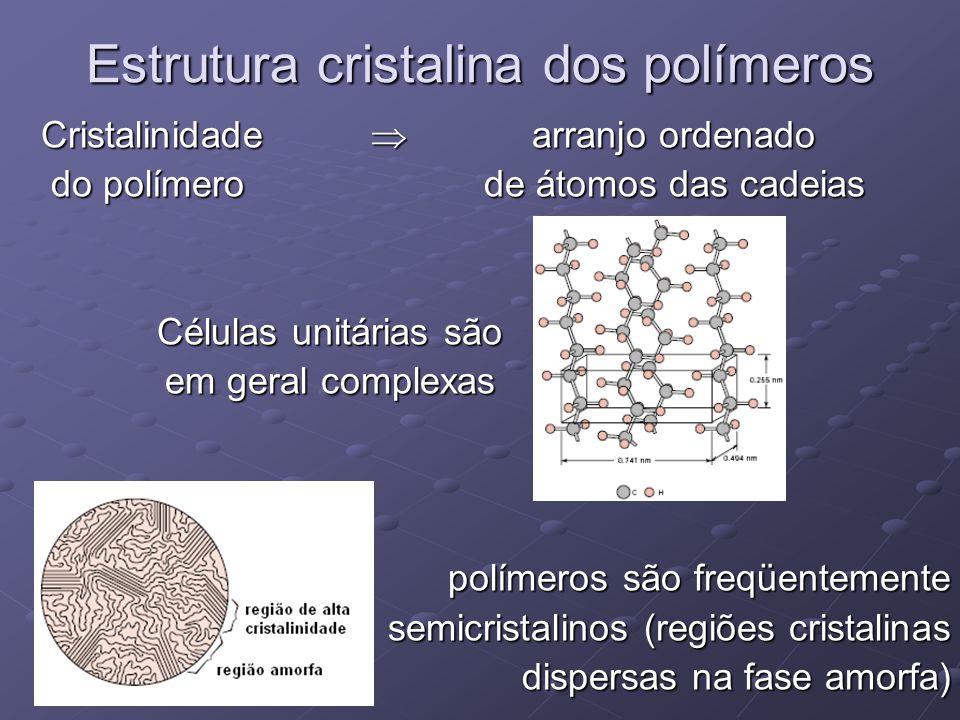 Estrutura cristalina dos polímeros Cristalinidade  arranjo ordenado Cristalinidade  arranjo ordenado do polímero de átomos das cadeias do polímero d