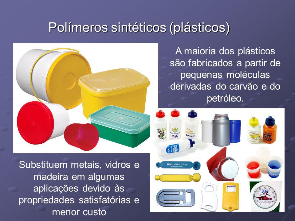 Polímeros sintéticos (plásticos) A maioria dos plásticos são fabricados a partir de pequenas moléculas derivadas do carvão e do petróleo. Substituem m