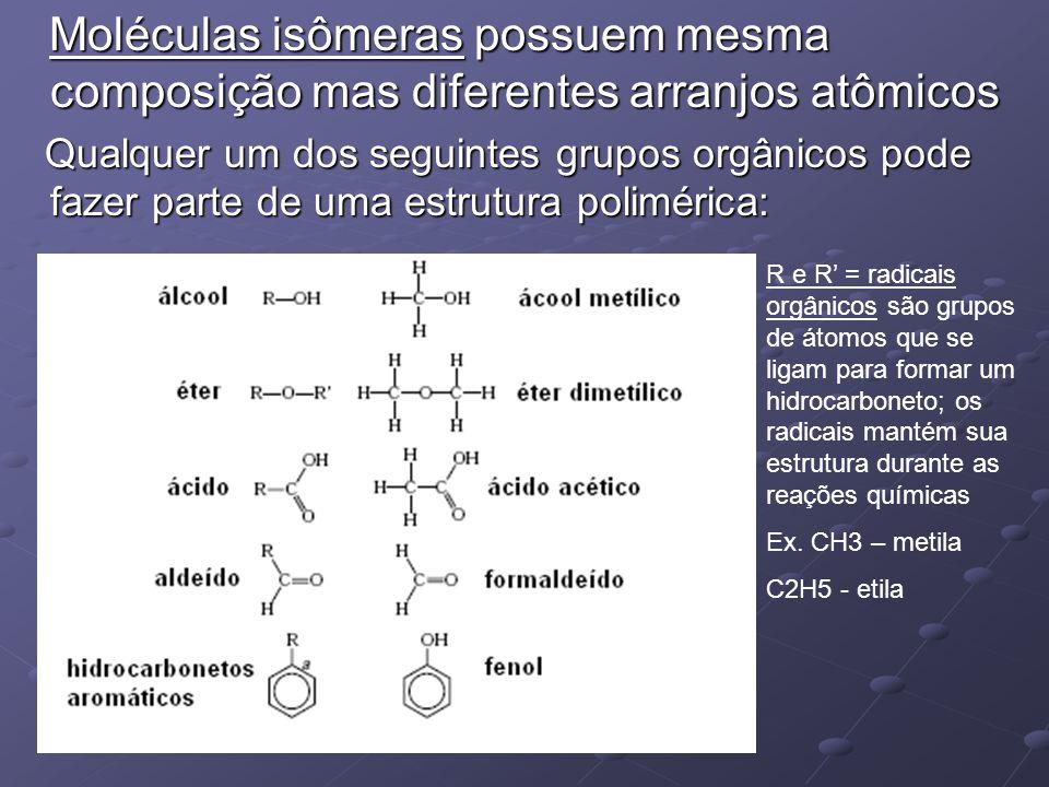 Moléculas isômeras possuem mesma composição mas diferentes arranjos atômicos Moléculas isômeras possuem mesma composição mas diferentes arranjos atômi