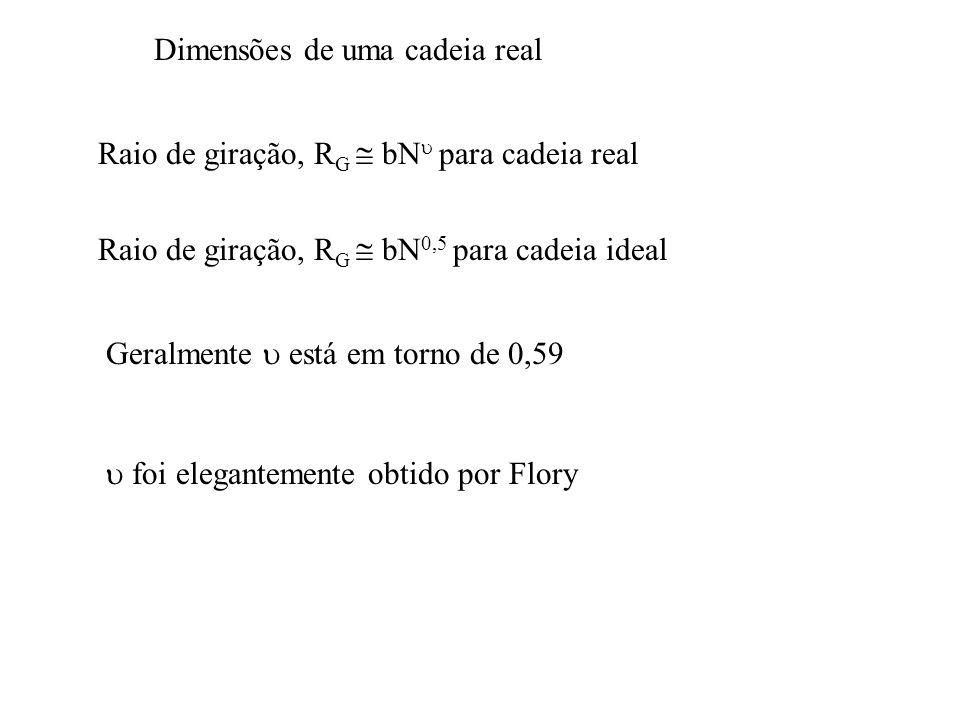 Dimensões de uma cadeia real Raio de giração, R G  bN  para cadeia real Raio de giração, R G  bN 0,5 para cadeia ideal Geralmente  está em torno de 0,59  foi elegantemente obtido por Flory