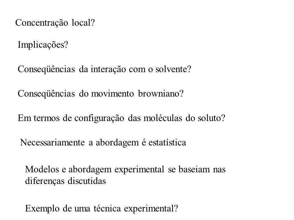 Concentração local.Implicações. Conseqüências da interação com o solvente.