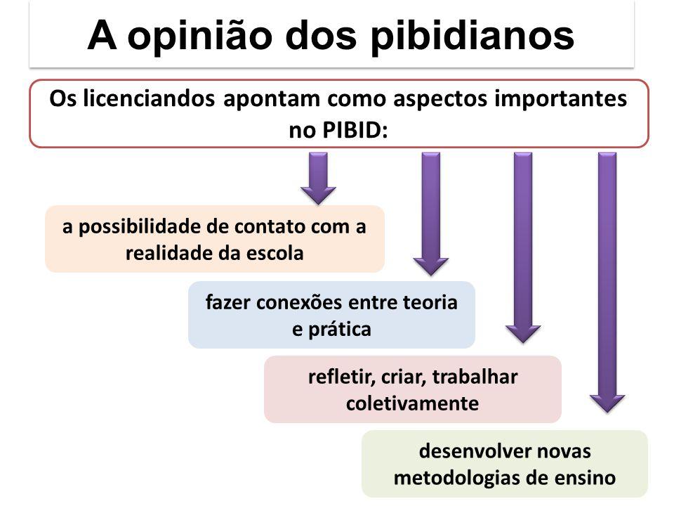 A opinião dos pibidianos Os licenciandos apontam como aspectos importantes no PIBID: a possibilidade de contato com a realidade da escola fazer conexões entre teoria e prática refletir, criar, trabalhar coletivamente desenvolver novas metodologias de ensino