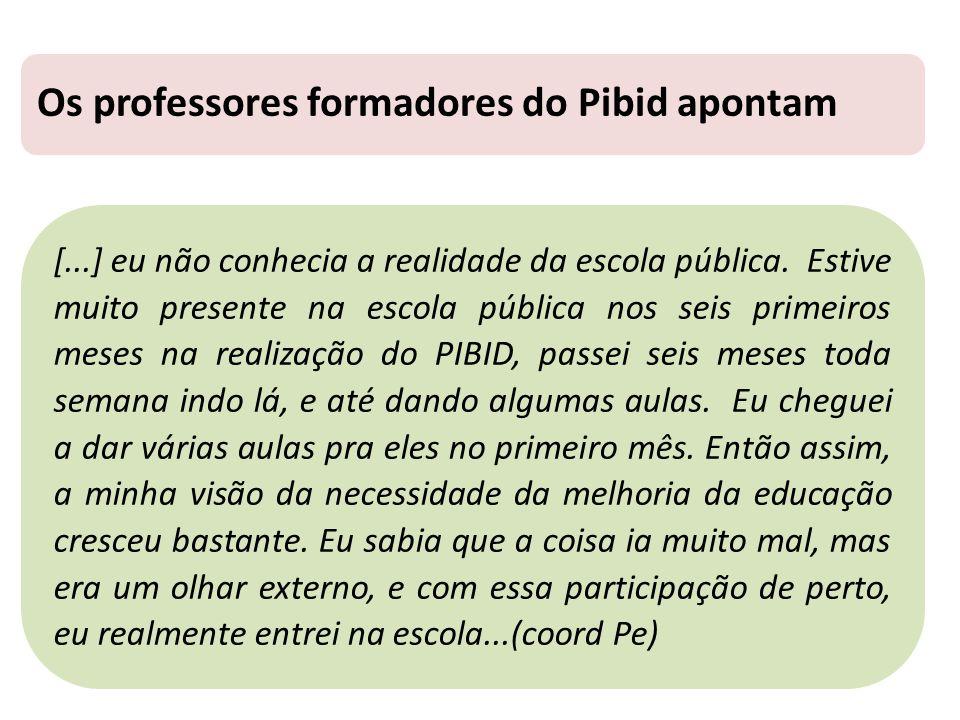 Os professores formadores do Pibid apontam [...] eu não conhecia a realidade da escola pública.