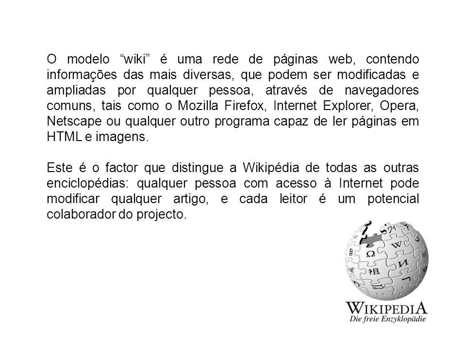 O modelo wiki é uma rede de páginas web, contendo informações das mais diversas, que podem ser modificadas e ampliadas por qualquer pessoa, através de navegadores comuns, tais como o Mozilla Firefox, Internet Explorer, Opera, Netscape ou qualquer outro programa capaz de ler páginas em HTML e imagens.