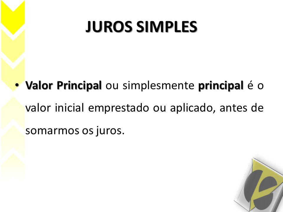 JUROS SIMPLES Valor Principal principal Valor Principal ou simplesmente principal é o valor inicial emprestado ou aplicado, antes de somarmos os juros