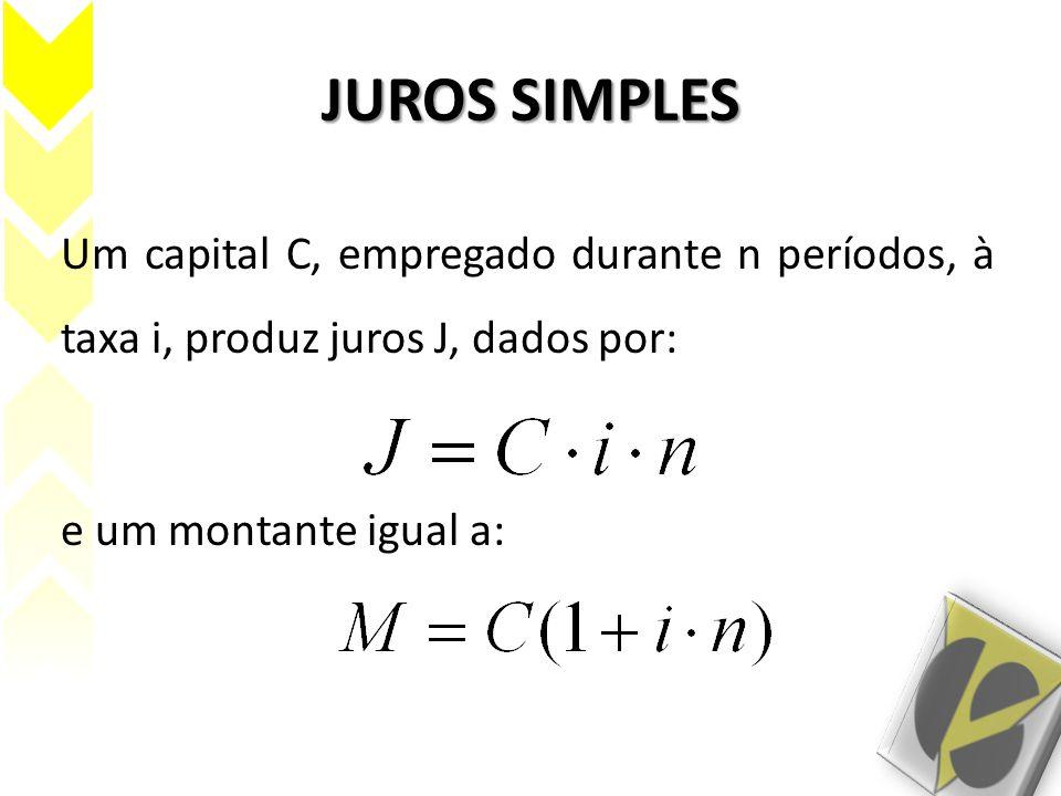 JUROS SIMPLES Um capital C, empregado durante n períodos, à taxa i, produz juros J, dados por: e um montante igual a: