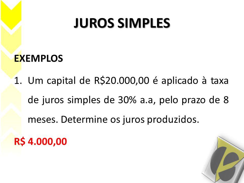 JUROS SIMPLES EXEMPLOS 1.Um capital de R$20.000,00 é aplicado à taxa de juros simples de 30% a.a, pelo prazo de 8 meses. Determine os juros produzidos