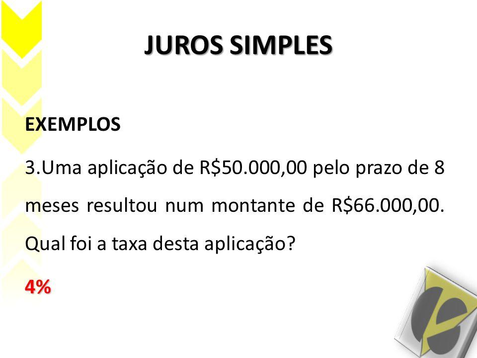 JUROS SIMPLES EXEMPLOS 3.Uma aplicação de R$50.000,00 pelo prazo de 8 meses resultou num montante de R$66.000,00. Qual foi a taxa desta aplicação?4%
