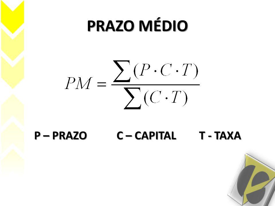 PRAZO MÉDIO P – PRAZOC – CAPITALT - TAXA