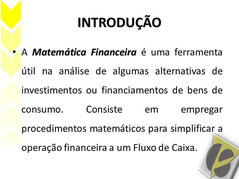 INTRODUÇÃO Matemática Financeira A Matemática Financeira é uma ferramenta útil na análise de algumas alternativas de investimentos ou financiamentos d