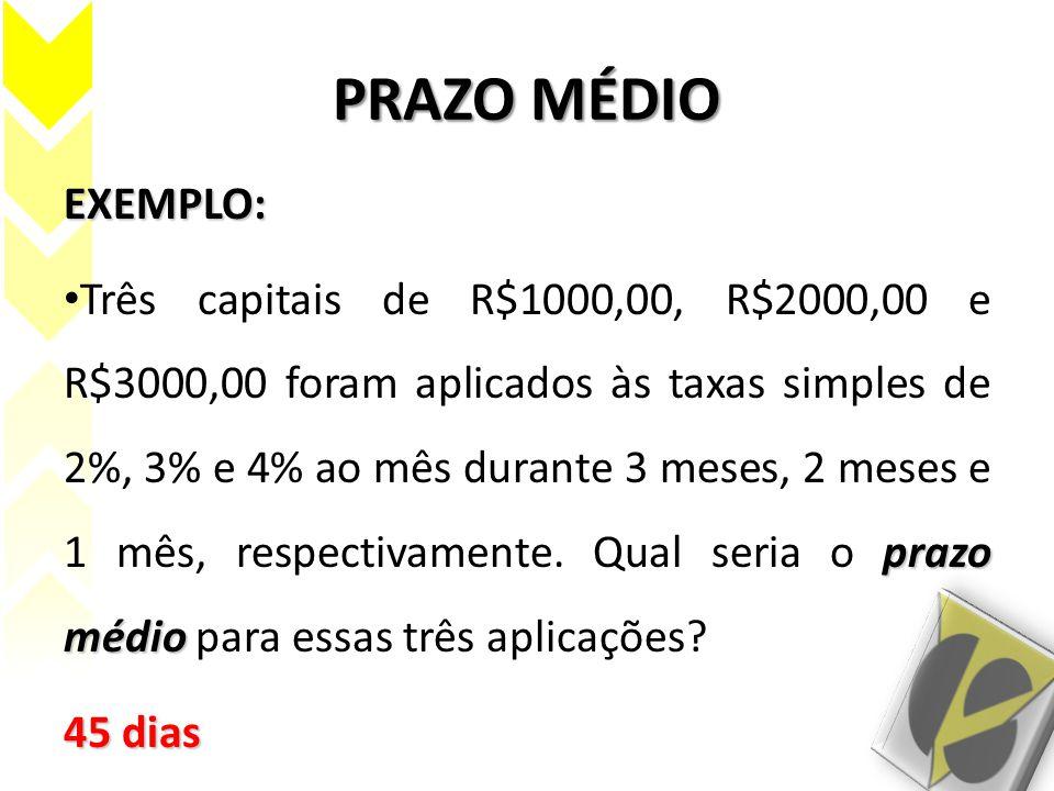 PRAZO MÉDIO EXEMPLO: prazo médio Três capitais de R$1000,00, R$2000,00 e R$3000,00 foram aplicados às taxas simples de 2%, 3% e 4% ao mês durante 3 me
