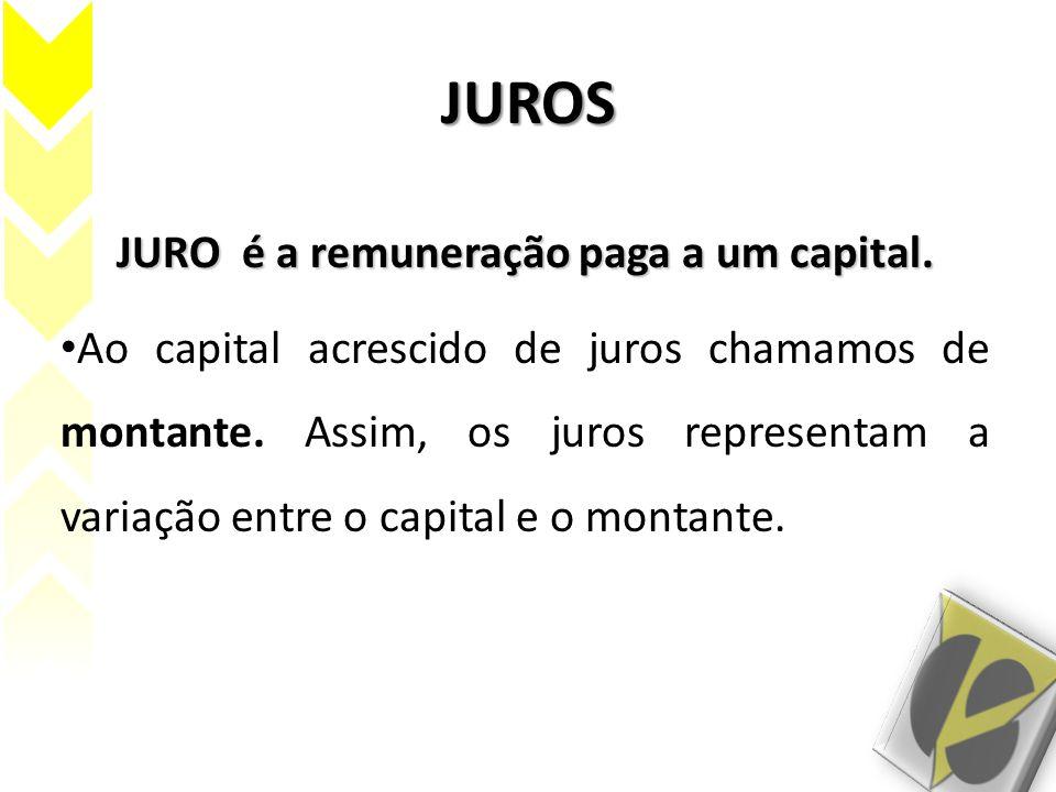 JUROS JURO é a remuneração paga a um capital. Ao capital acrescido de juros chamamos de montante. Assim, os juros representam a variação entre o capit
