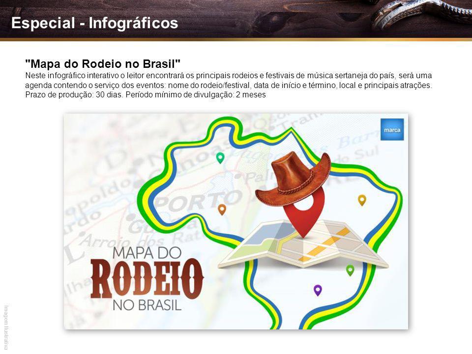 Mapa do Rodeio no Brasil Neste infográfico interativo o leitor encontrará os principais rodeios e festivais de música sertaneja do país, será uma agenda contendo o serviço dos eventos: nome do rodeio/festival, data de início e término, local e principais atrações.