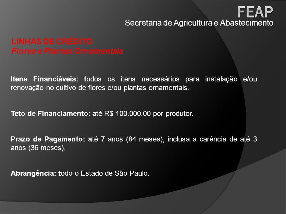 Secretaria de Agricultura e Abastecimento LINHAS DE CRÉDITO Flores e Plantas Ornamentais Itens Financiáveis: todos os itens necessários para instalaçã