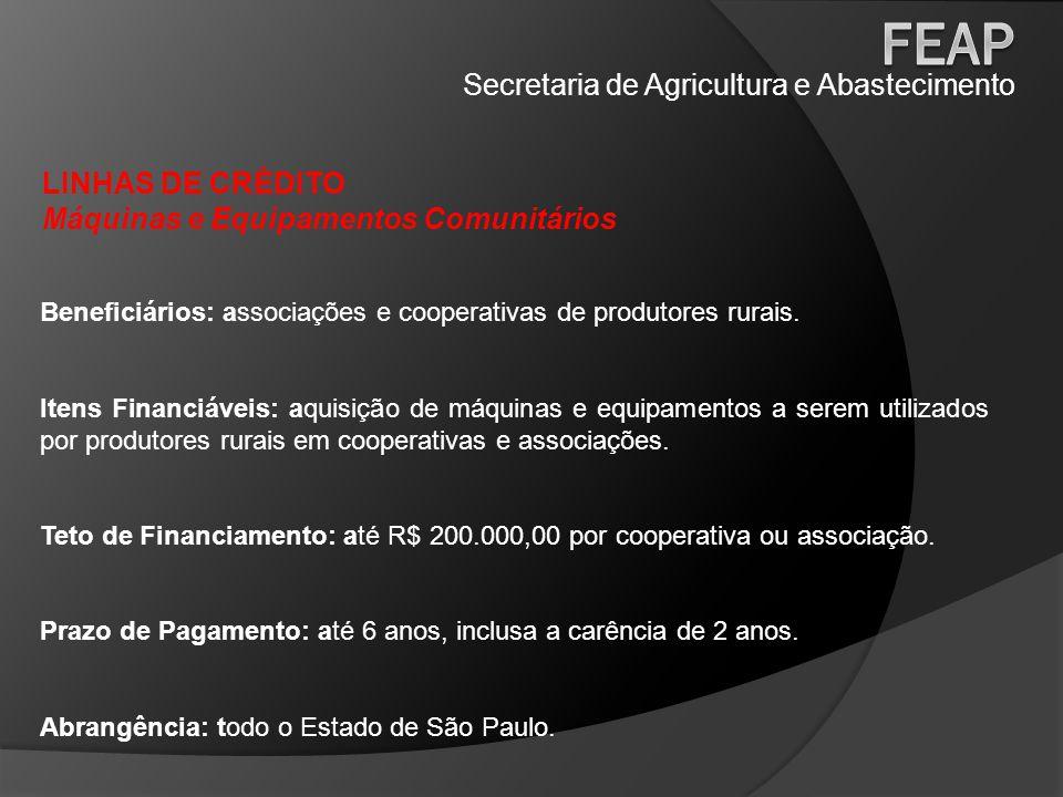 Secretaria de Agricultura e Abastecimento LINHAS DE CRÉDITO Máquinas e Equipamentos Comunitários Beneficiários: associações e cooperativas de produtor