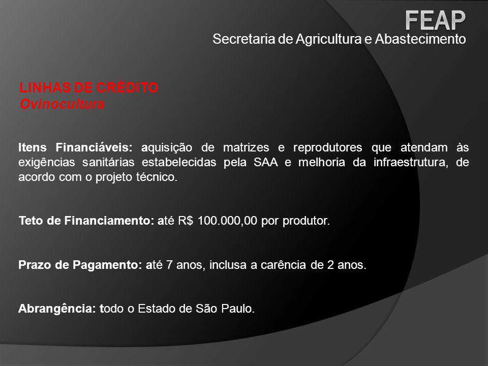Secretaria de Agricultura e Abastecimento LINHAS DE CRÉDITO Ovinocultura Itens Financiáveis: aquisição de matrizes e reprodutores que atendam às exigê