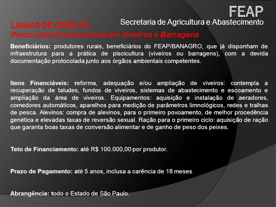 Secretaria de Agricultura e Abastecimento LINHAS DE CRÉDITO Piscicultura Convencional em Viveiros e Barragens Beneficiários: produtores rurais, benefi