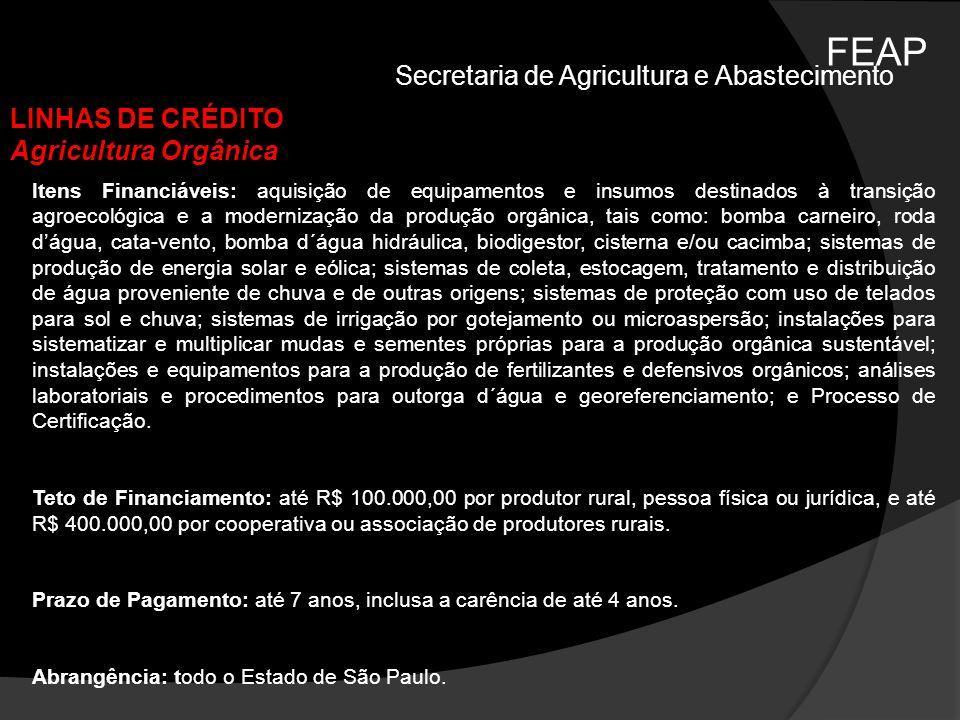 FEAP Secretaria de Agricultura e Abastecimento LINHAS DE CRÉDITO Agricultura Orgânica Itens Financiáveis: aquisição de equipamentos e insumos destinad