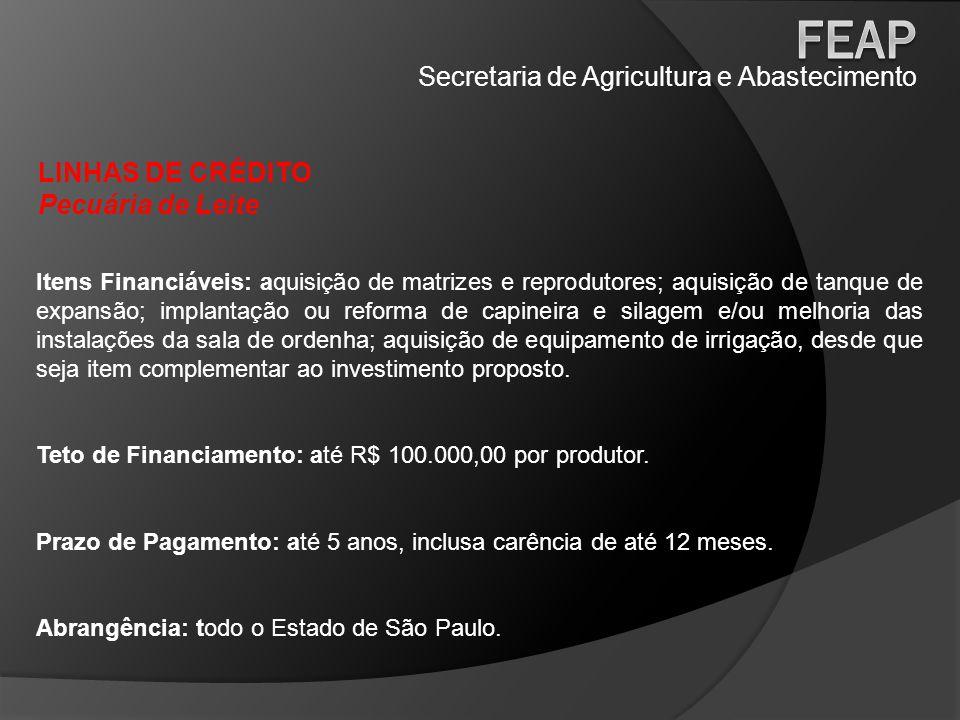 Secretaria de Agricultura e Abastecimento LINHAS DE CRÉDITO Pecuária de Leite Itens Financiáveis: aquisição de matrizes e reprodutores; aquisição de t