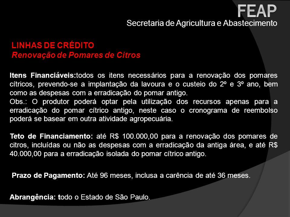 Secretaria de Agricultura e Abastecimento LINHAS DE CRÉDITO Renovação de Pomares de Citros Itens Financiáveis:todos os itens necessários para a renova