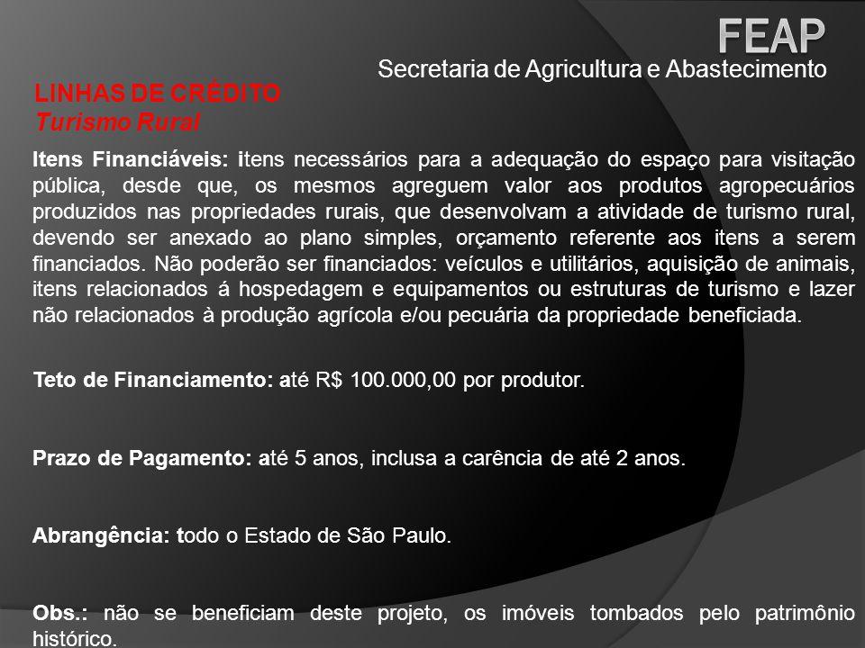 Secretaria de Agricultura e Abastecimento LINHAS DE CRÉDITO Turismo Rural Itens Financiáveis: itens necessários para a adequação do espaço para visita