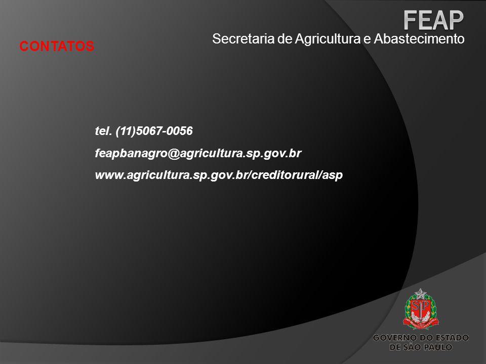 Secretaria de Agricultura e Abastecimento CONTATOS tel. (11)5067-0056 feapbanagro@agricultura.sp.gov.br www.agricultura.sp.gov.br/creditorural/asp