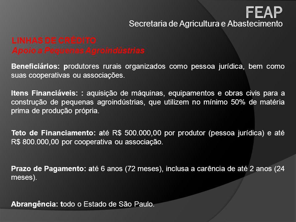 Secretaria de Agricultura e Abastecimento LINHAS DE CRÉDITO Máquinas e Equipamentos Comunitários Beneficiários: associações e cooperativas de produtores rurais.