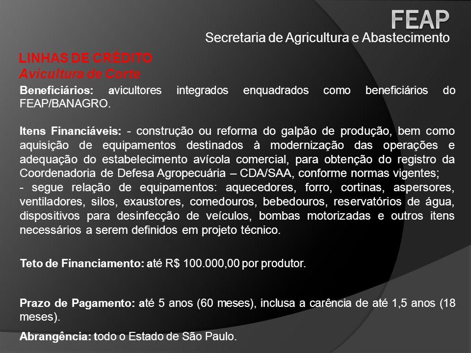 Secretaria de Agricultura e Abastecimento LINHAS DE CRÉDITO Sericicultura Beneficiários: agricultores que possuam contrato de aquisição dos casulos com indústrias no Estado de São Paulo.