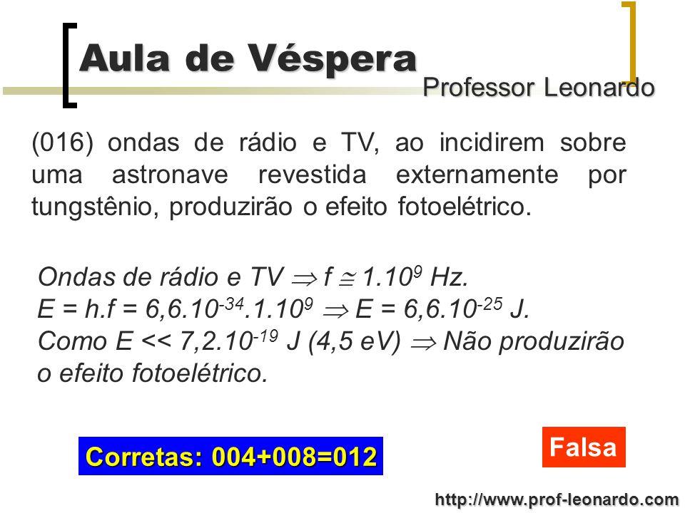 Professor Leonardo Aula de Véspera http://www.prof-leonardo.com (008) a energia cinética dos elétrons arrancados do tungstênio depende da energia dos fótons incidentes e da função trabalho do tungstênio.