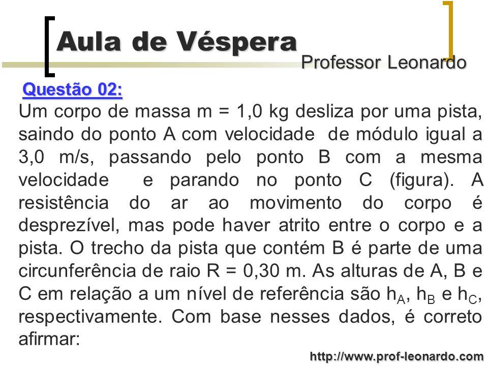Professor Leonardo Aula de Véspera http://www.prof-leonardo.com (064) A energia mecânica total de uma partícula é uma constante para a qual vale a lei de conservação.