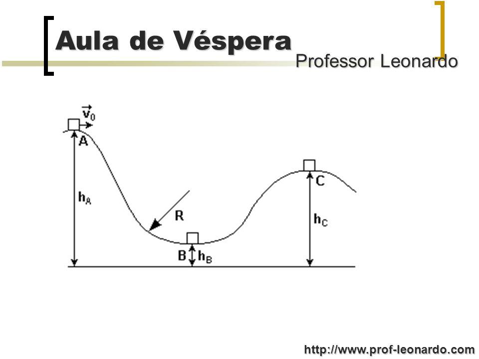 Professor Leonardo Aula de Véspera http://www.prof-leonardo.com Questão 02: Um corpo de massa m = 1,0 kg desliza por uma pista, saindo do ponto A com velocidade de módulo igual a 3,0 m/s, passando pelo ponto B com a mesma velocidade e parando no ponto C (figura).