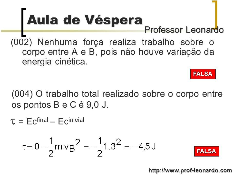 Professor Leonardo Aula de Véspera http://www.prof-leonardo.com (001) Existe uma força de atrito entre a pista e o corpo entre os pontos A e B, que realiza trabalho igual a -mg(h A -h B ).