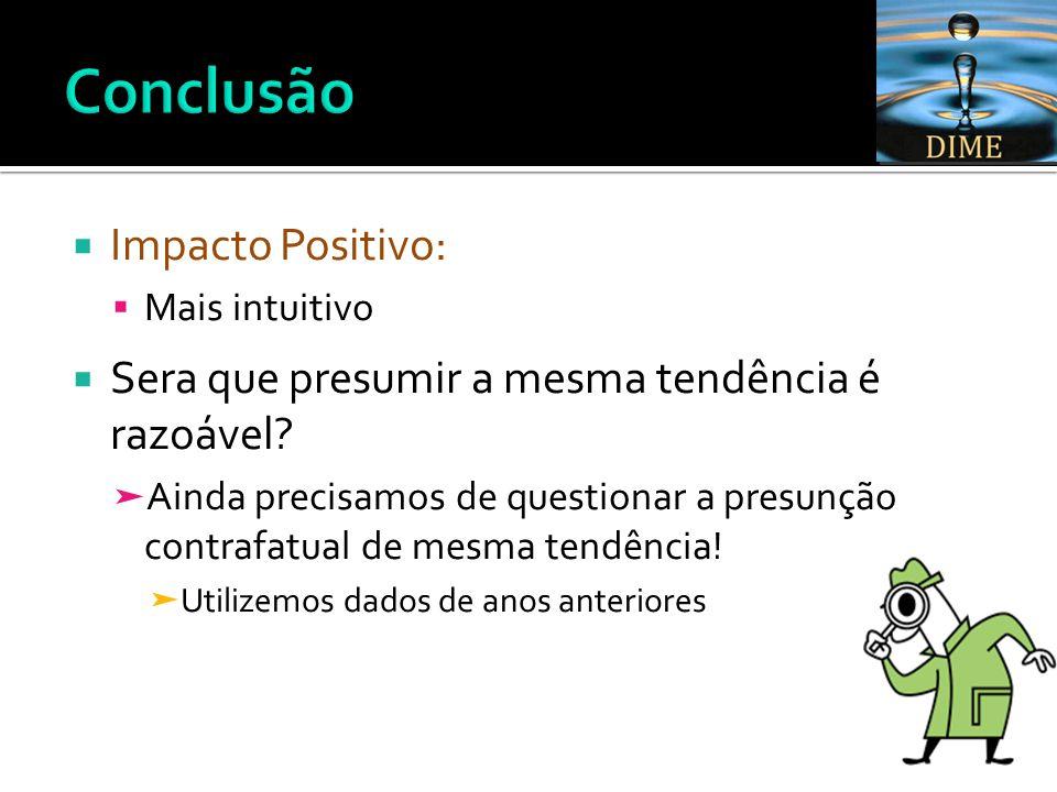  Impacto Positivo:  Mais intuitivo  Sera que presumir a mesma tendência é razoável.
