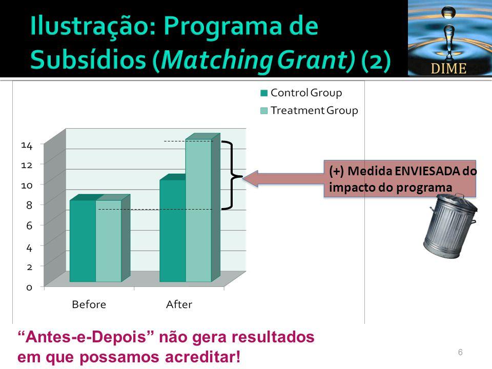 7 Diferença final (« depois ») entre participantes e não participantes Diferença inicial (« antes ») entre participantes e não participantes >> Qual é o impacto da nossa intervenção?