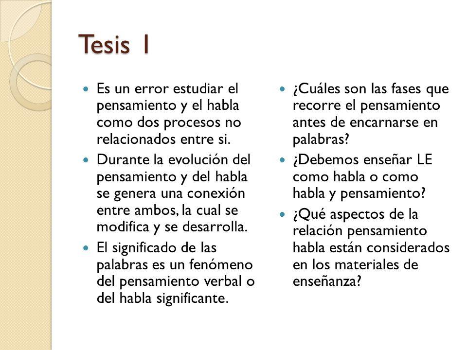 Tesis 1 Es un error estudiar el pensamiento y el habla como dos procesos no relacionados entre si. Durante la evolución del pensamiento y del habla se