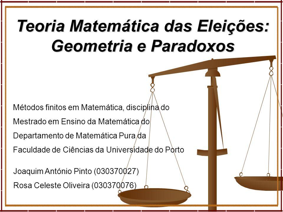 1 Joaquim António Pinto (030370027) Rosa Celeste Oliveira (030370076) Teoria Matemática das Eleições: Geometria e Paradoxos Métodos finitos em Matemát