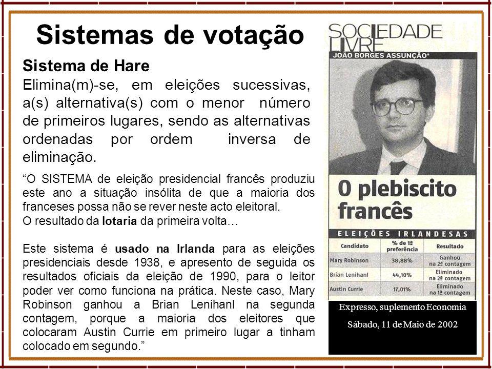 10 Sistemas de votação Expresso, suplemento Economia Sábado, 11 de Maio de 2002 Sistema de Hare Elimina(m)-se, em eleições sucessivas, a(s) alternativ